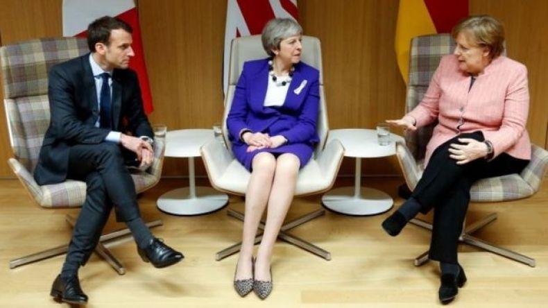 El presidente de Francia, Emmanuel Macron, la primera ministra de Reino Unido, Theresa May, y la canciller de Alemania, Angela Merkel.