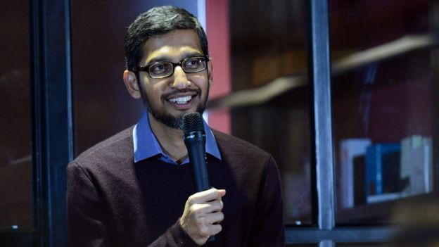 Google boss Sundar Pichai speaking in Vietnam