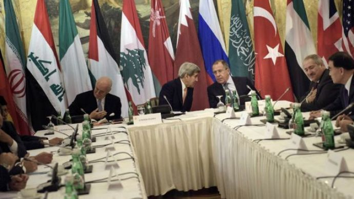 John Kerry, the UN special envoy for Syria and the Russian Foreign Minister in Vienna on 30 October 2015