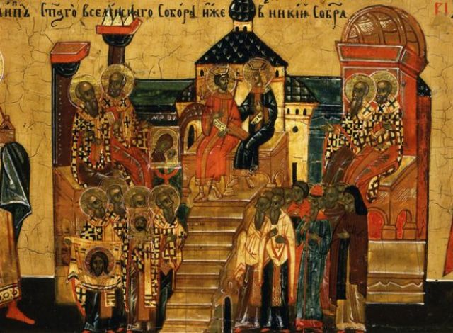 Council of Nicaea, 325 AD, from Calendar for October, icon, mid 18th century Novgorod School Russian