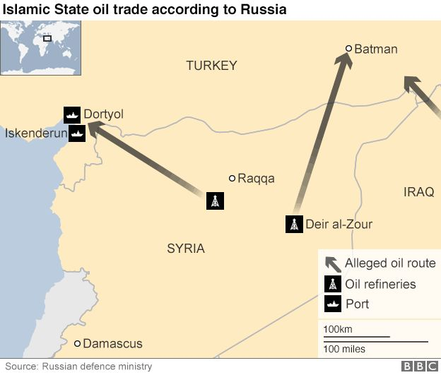 A map showing alleged oil smuggling routes between Syria and Turkey