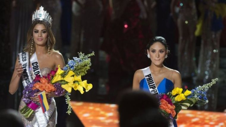 Miss Colombia 2015 Ariadna Gutierrez is mistakenly named Miss Universe 2015 instead of first runner-up during the 2015 during the 2015 MISS UNIVERSE show at Planet Hollywood Resort Casino, in Las Vegas, California