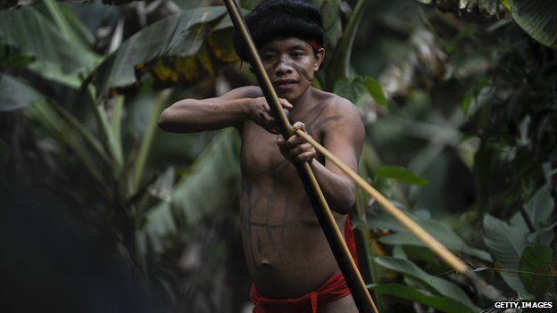A Yanomami man with a spear