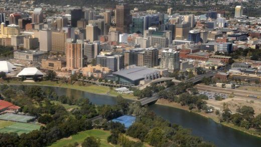 Aerial view of the Torrens river and Adelaide city centre in Australia