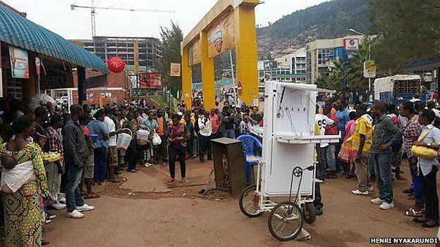 One of Henry Nyakarundi's solar powered phone charging stations in Rwanda