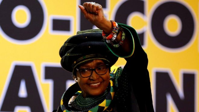 Winnie Madikizela Mandela gestures to supporters at the 54th National Conference of the ruling African National Congress (ANC) in Johannesburg, South Africa December 16, 2017.