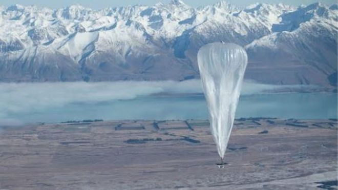 Project Loon balloon over mountains
