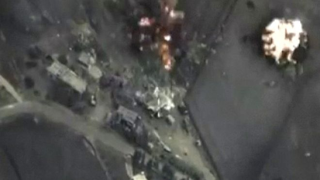 Footage released by Russia's Defence Ministry said to show air strikes it carried out in Syria