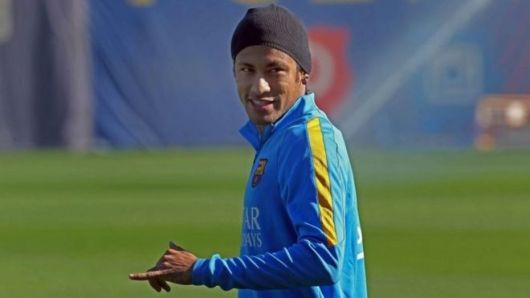 A file picture dated 7 November 2015 shows FC Barcelona's Brazilian striker Neymar during a training session in Barcelona.