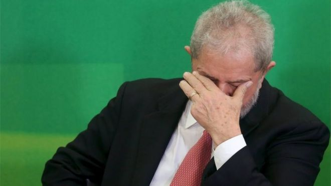 Brazil's former president Luiz Inacio Lula da Silva reacts during his appointment as chief of staff, at Planalto palace in Brasilia, Brazil, March 17, 2016.