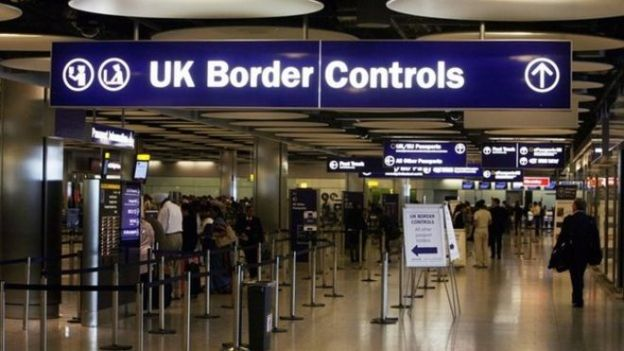 UK Border controls sign at Heathrow Airport