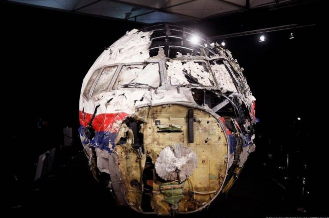A general view of the cockpit wreckage of MH17