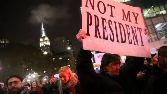 Protesters in New York