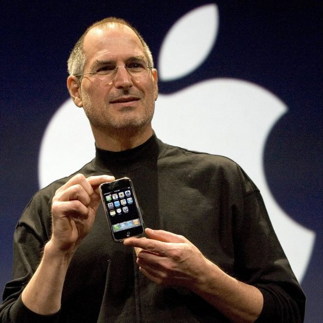 Steve Jobs unveiling the first iPhone in January 2007
