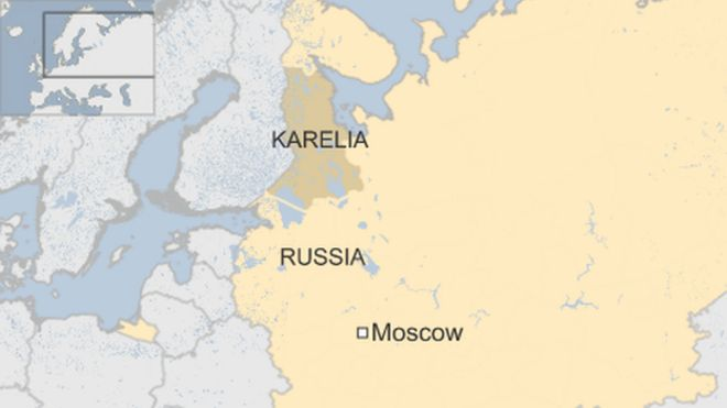 Map of Russia, showing Moscow and Karelia
