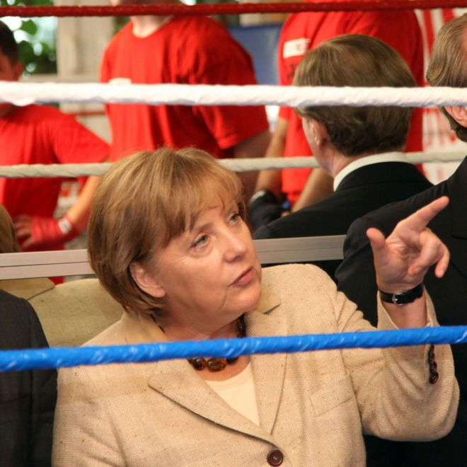 Angela Merkel visits the 'Kuckucksnest' sports facility on 20 June 20, 2011 in Frankfurt am Main, Germany
