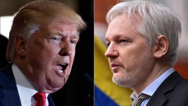 Ông Donald Trump và ông Julian Assange