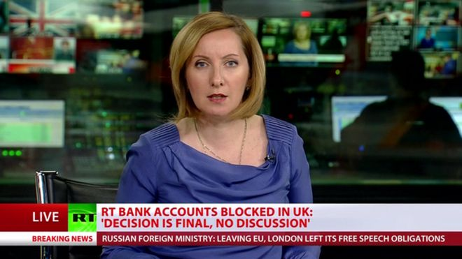 In this grab from RT's live broadcast, the Kremlin-backed channel says its accounts have been frozen by NatWest