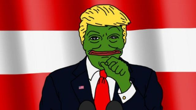 Cartoon of Donald Trump made to look like Pepe the Frog