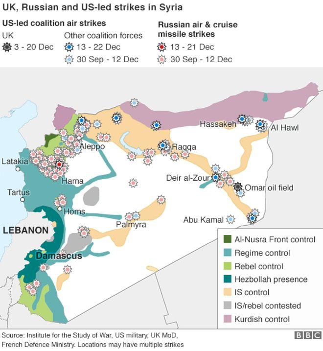 Mapa mostrando EUA, Reino Unido e Rússia greves de ar sobre a Síria