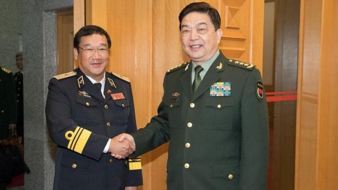 Chinese State Councilor and Defense Minister Chang Wanquan (R) meets with Pham Hoai Nam, commander of the Vietnam People's Navy, in Beijing, capital of China, March 15, 2017.