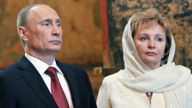 Russian President Vladimir Putin and his wife Lyudmila attending a service at Blagoveshchensky (the Annunciation) cathedral in Moscow's Kremlin