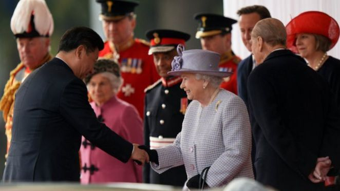 Mr Xi welcomed to the UK by the Queen and the Duke of Edinburgh