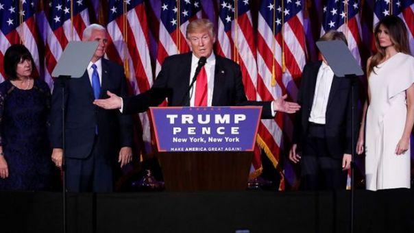 Donald Trump da su discurso de la victoria.