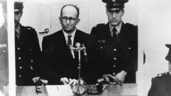 Austriacki nazistowski zbrodniarz wojenny Karl Adolf Eichmann (1906 - 1962) na procesie w Jerozolimie
