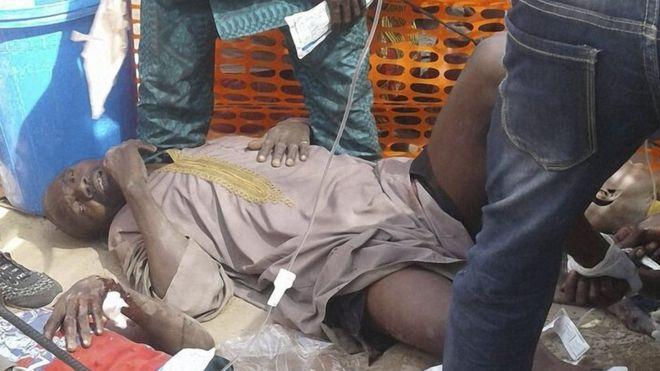 Injured people in the camp in Rann, Nigeria, 17 January