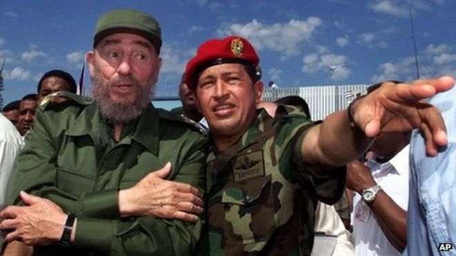 Image result for president fidel castro and Hugo Chavez