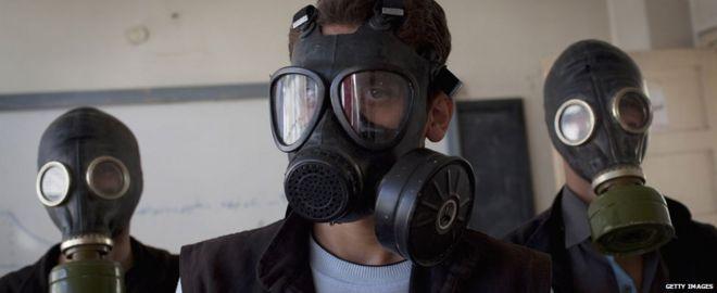 Syrians in masks