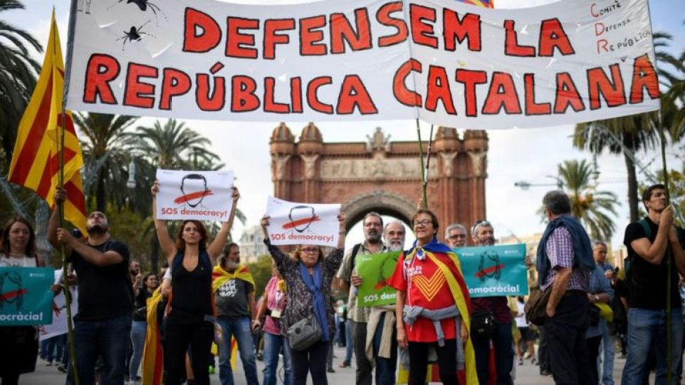 Protesta independentista en Cataluña