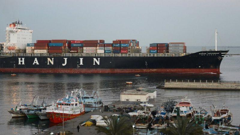 A Hanjin container ship