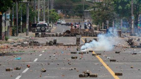 Calles de Managua con barricadas.