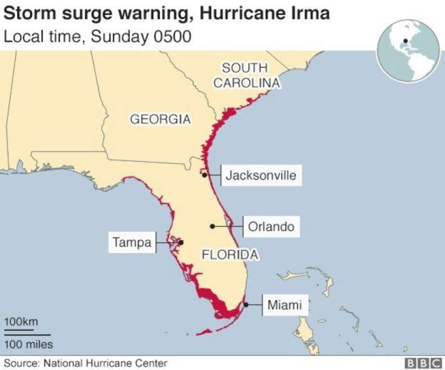 Storm surge map