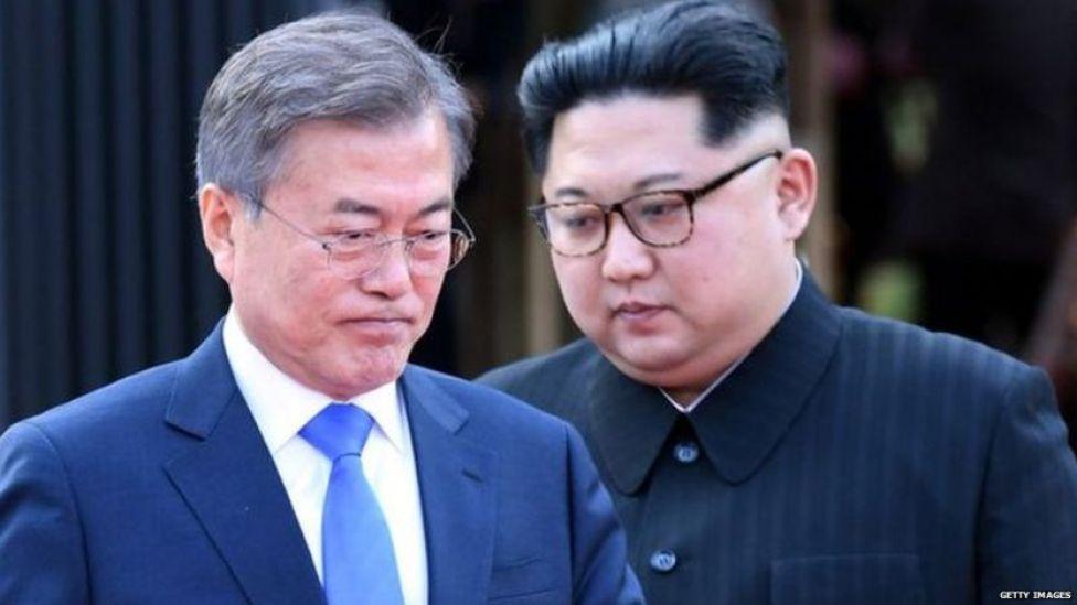 दक्षिण कोरियाई राष्ट्रपति मून जे-इन और उत्तर कोरियाई नेता किम जोंग-उन