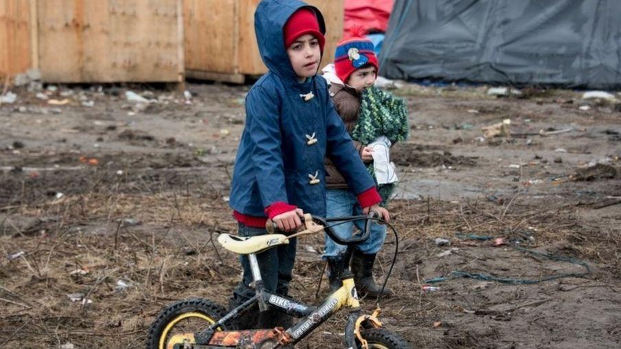 Children at the Calais migrant camp