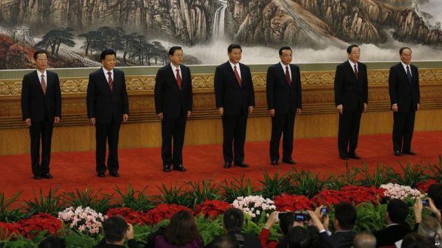 File photo: New members of the Politburo Standing Committee, from left, Zhang Gaoli, Liu Yunshan, Zhang Dejiang, Xi Jinping, Li Keqiang, Yu Zhengsheng and Wang Qishan standin Beijing's Great Hall of the People, 15 November 2012