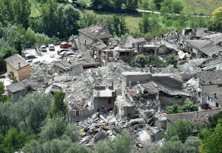 A general view of Pescara del Tronto town destroyed by the earthquake - 24 August 2016