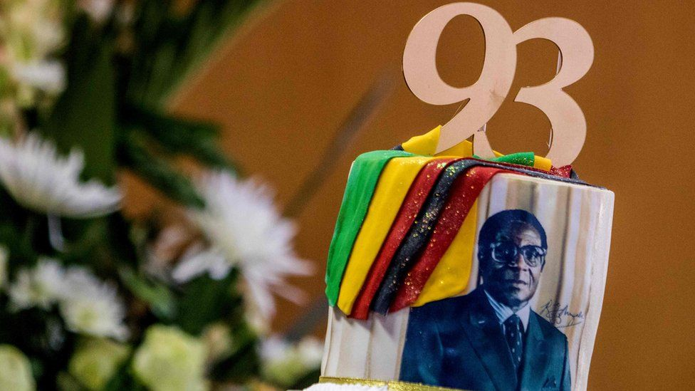 A cake for Zimbabwe's President Robert Mugabe with his portrait and the numbers 93 in Harare, Zimbabwe - Tuesday 21 February 201