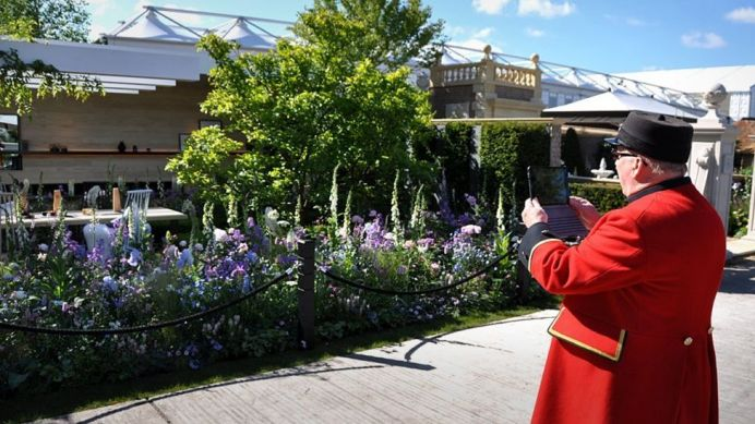 A Chelsea Pensioner takes a photo of one of the show gardens