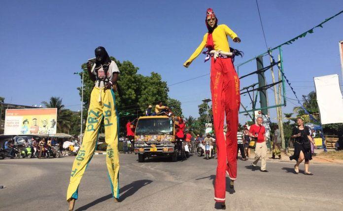 People on stilts in Zanzibar, Tanzania - Thursday 9 February 2017