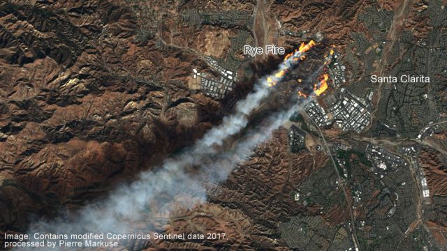 Satellite image of the Rye Fire in California