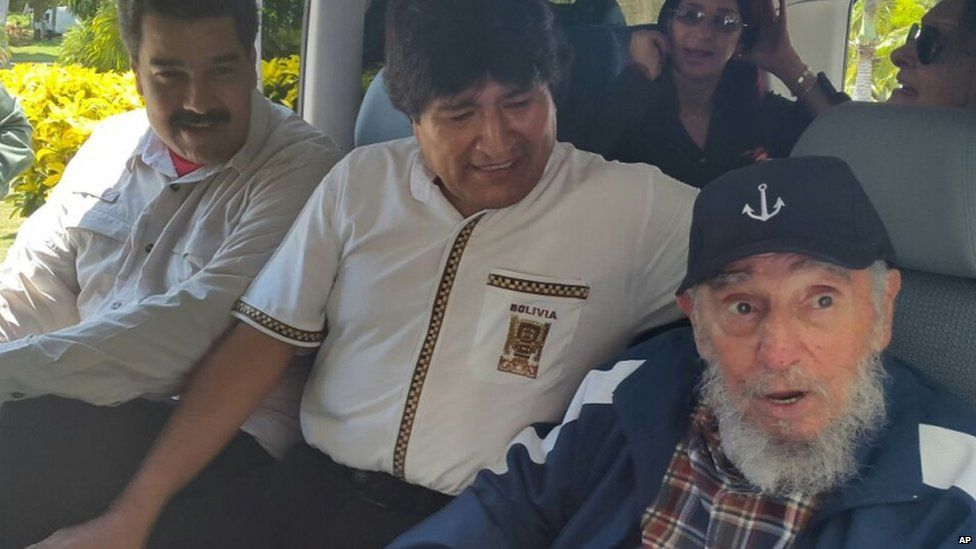 Venezuelan and Bolivian presidents Nicolas Maduro (left) and Evo Morales (centre) visited Fidel Castro on his birthday