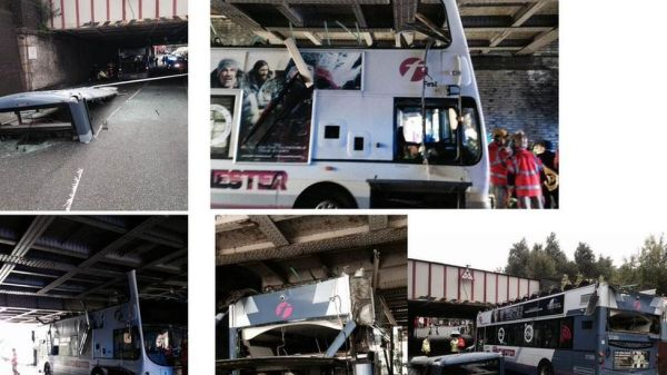 Rochdale bus crash: Seventeen hurt as roof shears off ...