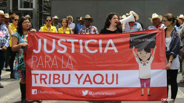Protesta de la tribu yaqui en Ciudad de México. Foto: cortesía CMDPDH