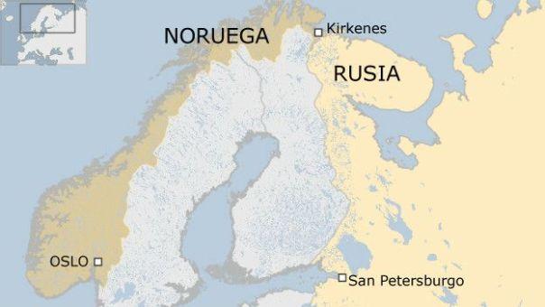 Mapa Noruega y Rusia