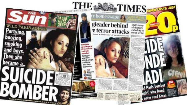 Hasna Aitboulahcen en las portadas de los diarios británicos.