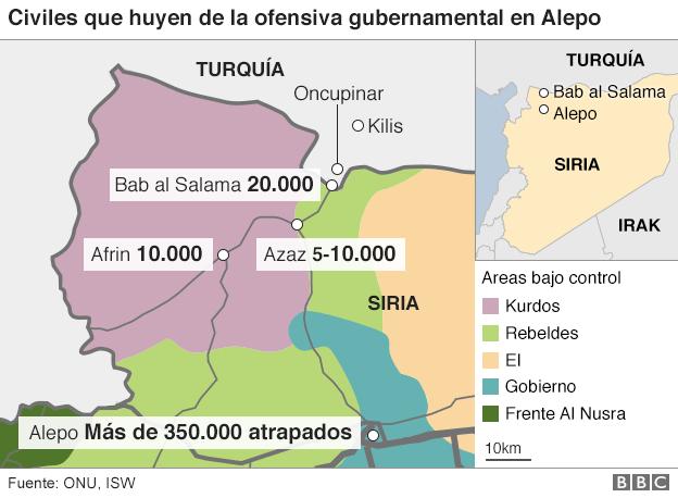 mapa conflicto en Siria.